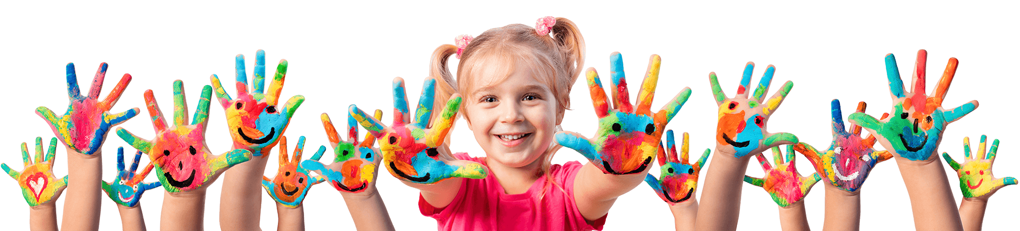 Smiling young girl with paint on her hands